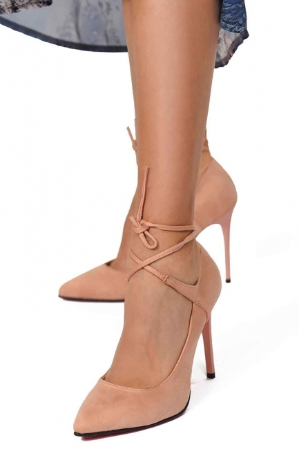 6671e00e768e8 MIZALLE أحذية من جلد الغزال مع أشار اصبع القدم (وردي فاتح)