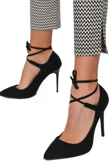 Suede Pointed Toe Shoes (Black) - Thumbnail