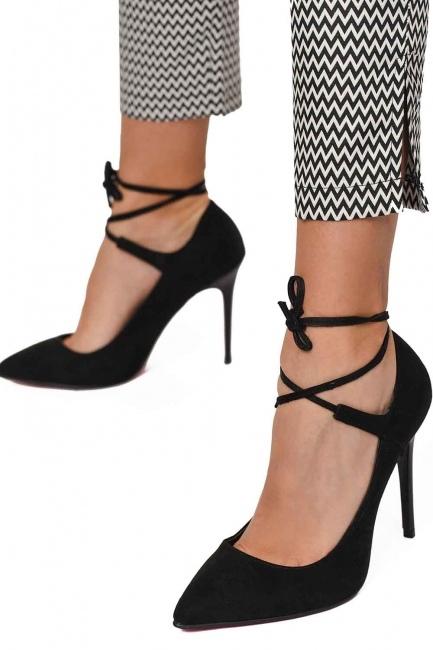 MIZALLE Süet Sivri Burun Ayakkabı (Siyah)