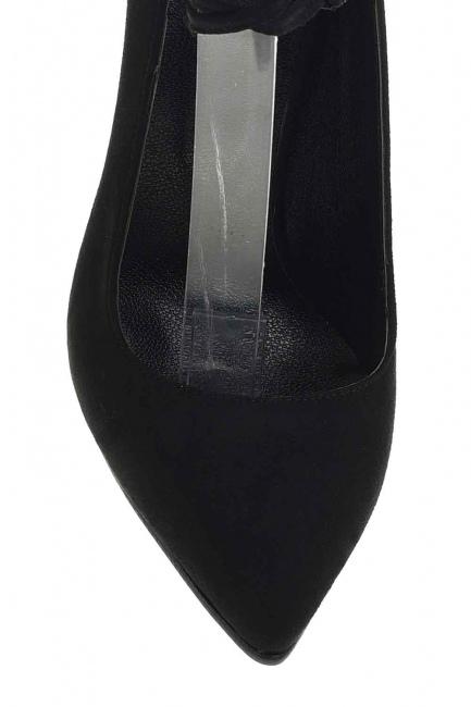 Süet Sivri Burun Ayakkabı (Siyah) - Thumbnail