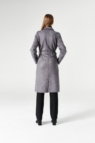 Suede Trenchcoat (Grey) - Thumbnail