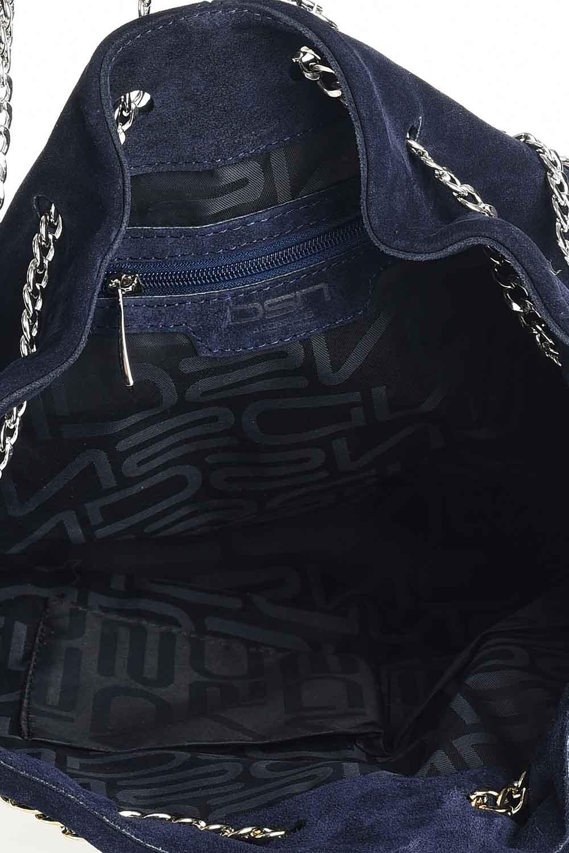 MIZALLE حقيبة كتف من جلد الغزال مع سلسلة (كُحْلِيّ) (1)