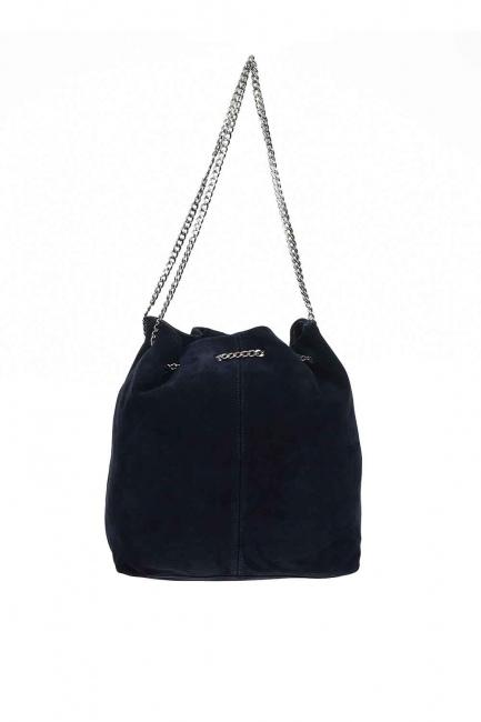 MIZALLE - حقيبة كتف من جلد الغزال مع سلسلة (كُحْلِيّ) (1)