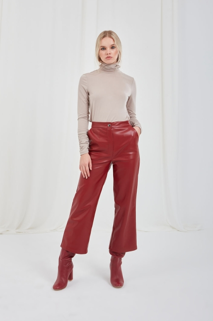 Mizalle - Suni Deri Bordo Culotte Pantolon