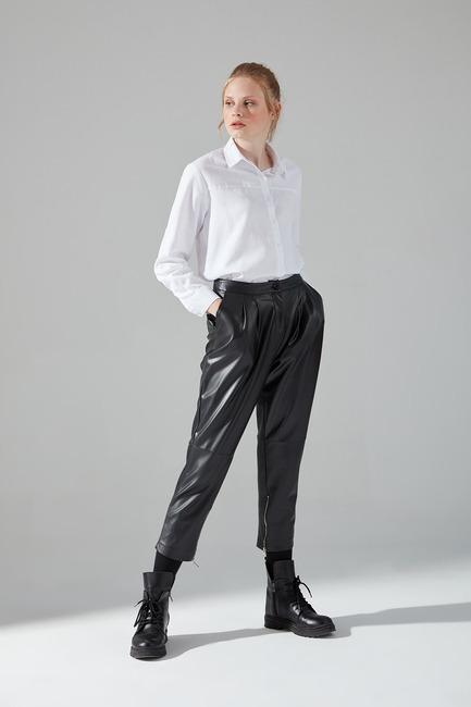 Suni Deri Fermuar Detaylı Pantolon (Siyah) - Thumbnail