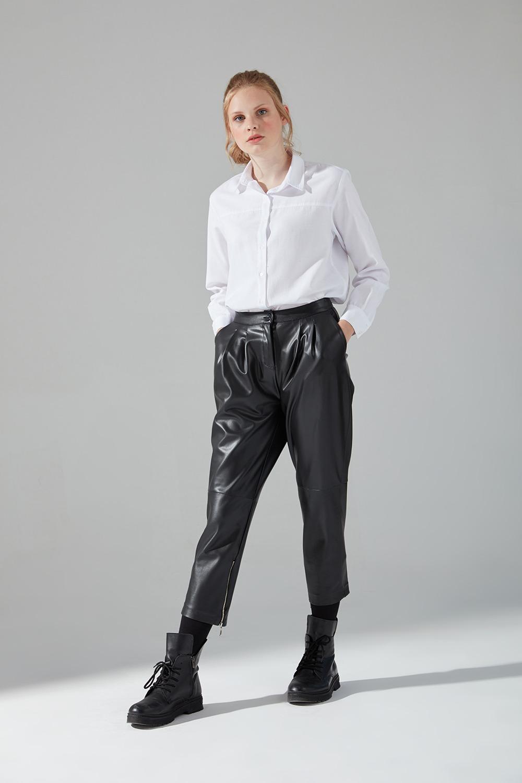 Suni Deri Fermuar Detaylı Pantolon (Siyah)