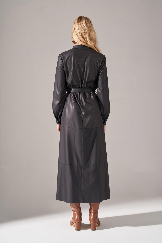 Suni Deri Siyah Gömlek Elbise