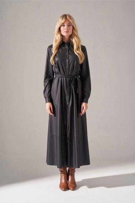 Mizalle - Suni Deri Gömlek Elbise (Siyah)
