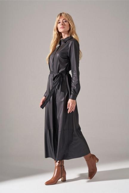 Suni Deri Siyah Gömlek Elbise - Thumbnail