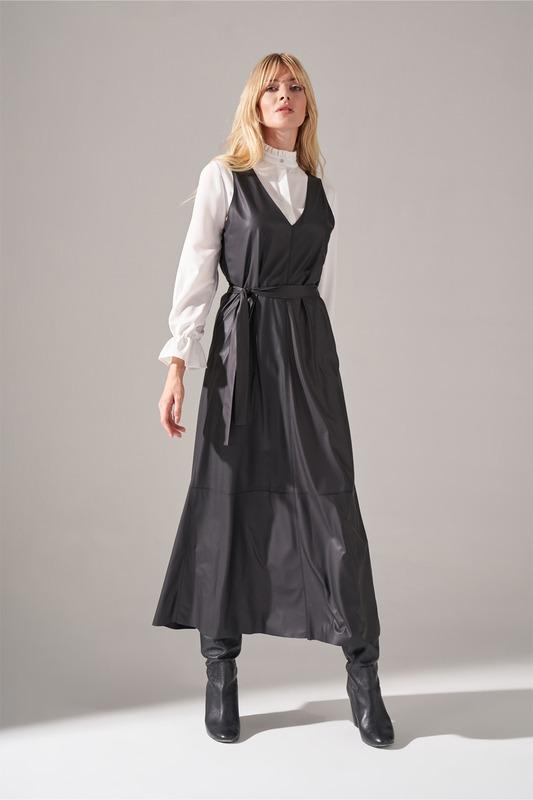 Suni Deri Jile Elbise (Siyah)