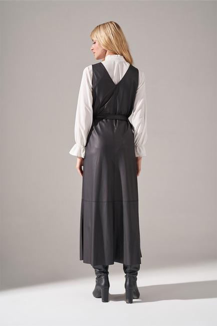 Suni Deri Jile Elbise (Siyah) - Thumbnail