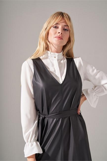 Suni Deri Siyah Jile Elbise - Thumbnail