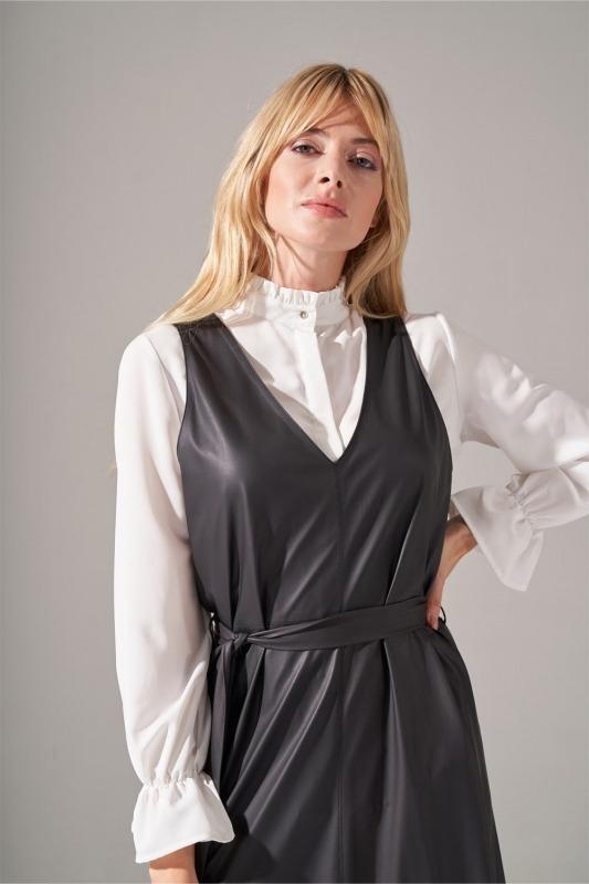 Suni Deri Siyah Jile Elbise