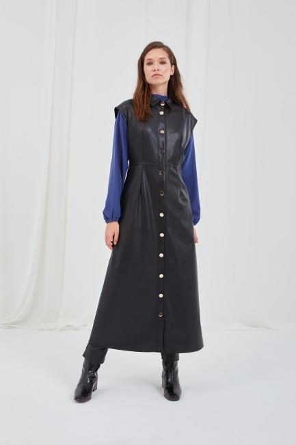 Mizalle - Suni Deri Siyah Kolsuz Gömlek Elbise