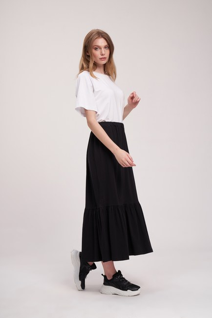 MIZALLE YOUTH - Suprem Elastic Skirt (Black) (1)