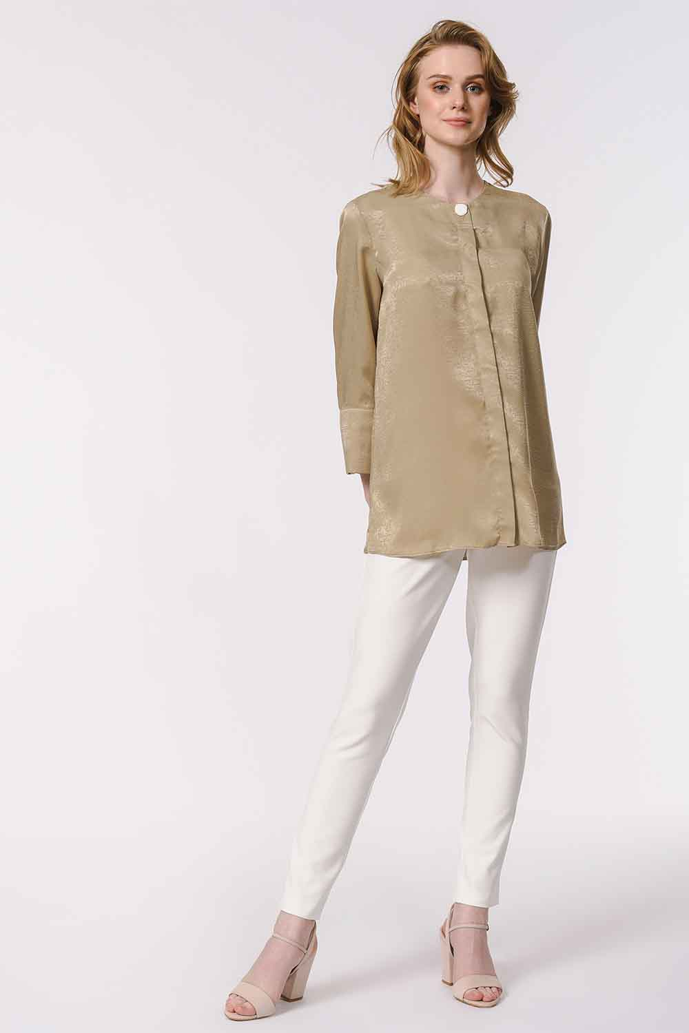 MIZALLE Trim Buttoned Blouse (Beige) (1)