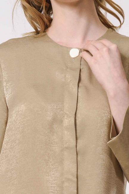 Trim Buttoned Blouse (Beige) - Thumbnail