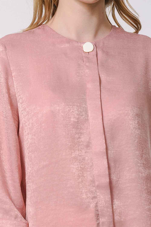 MIZALLE Süs Düğmeli Bluz (Pembe) (1)