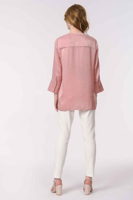 Trim Buttoned Blouse (Pink) - Thumbnail