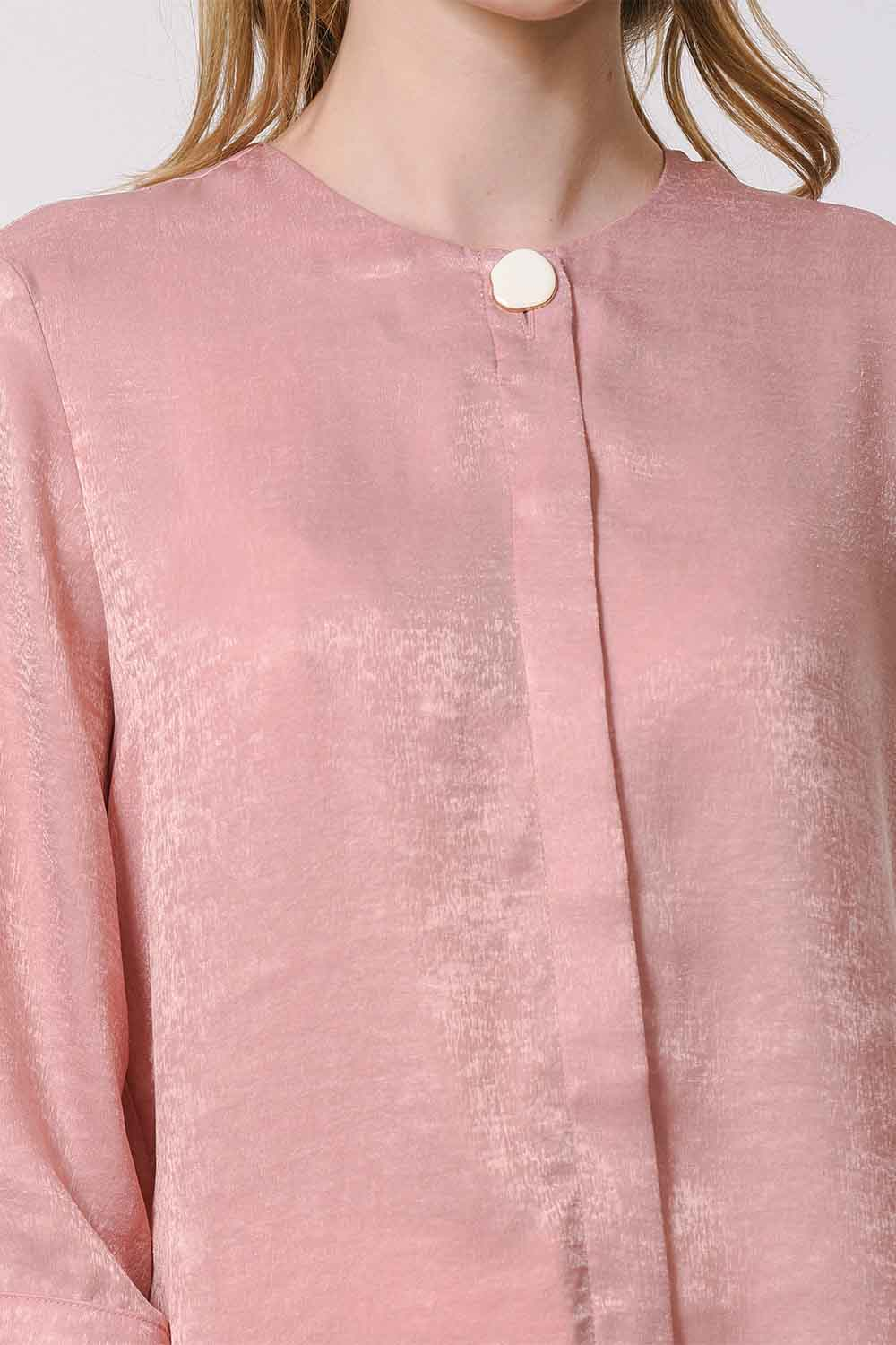 MIZALLE Trim Buttoned Blouse (Pink) (1)
