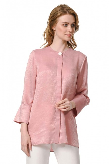 MIZALLE Trim Buttoned Blouse (Pink)