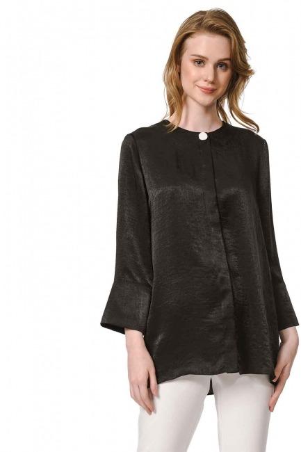 MIZALLE Süs Düğmeli Bluz (Siyah)
