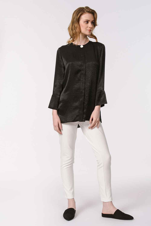 MIZALLE Süs Düğmeli Bluz (Siyah) (1)