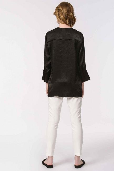 Süs Düğmeli Bluz (Siyah) - Thumbnail