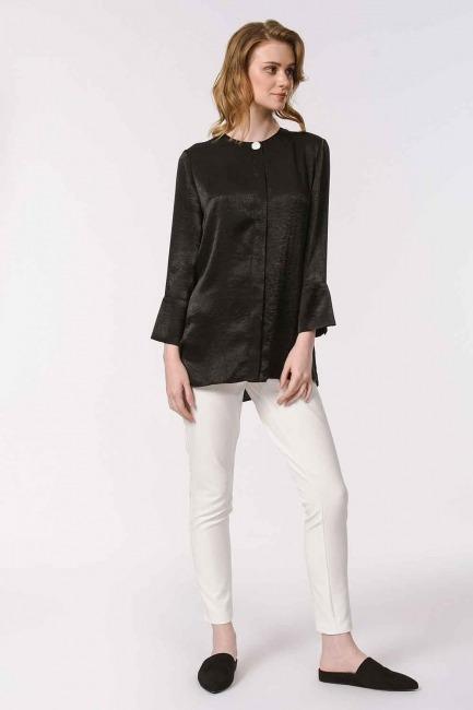 MIZALLE - Trim Buttoned Blouse (Black) (1)
