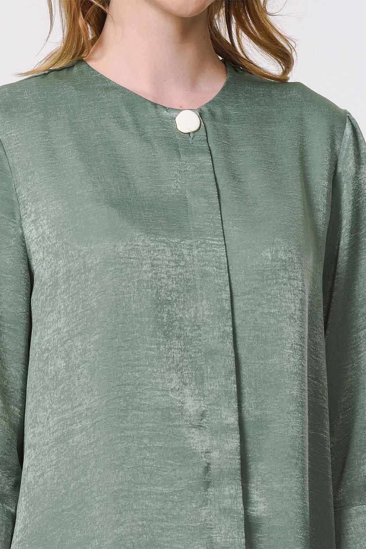 MIZALLE Süs Düğmeli Bluz (Yeşil) (1)