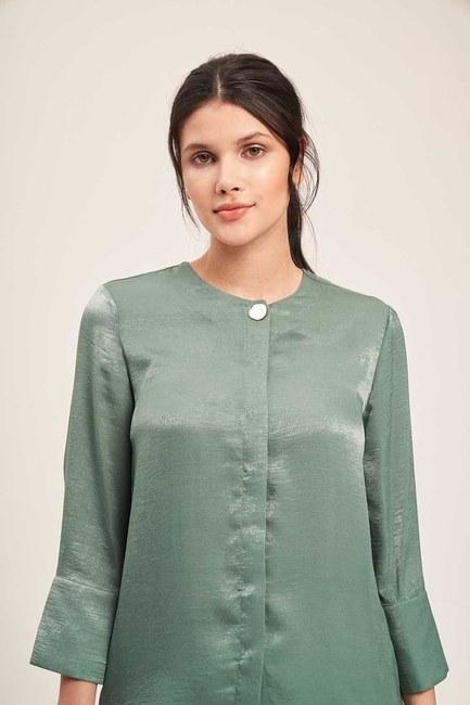 Mizalle - Süs Düğmeli Bluz (Yeşil)