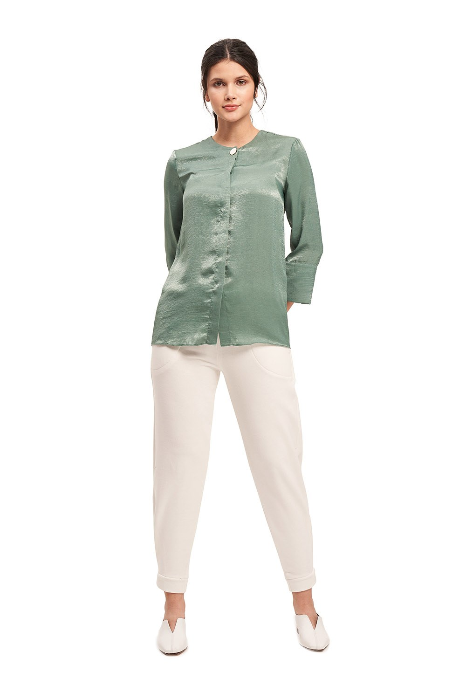 Süs Düğmeli Bluz (Yeşil)