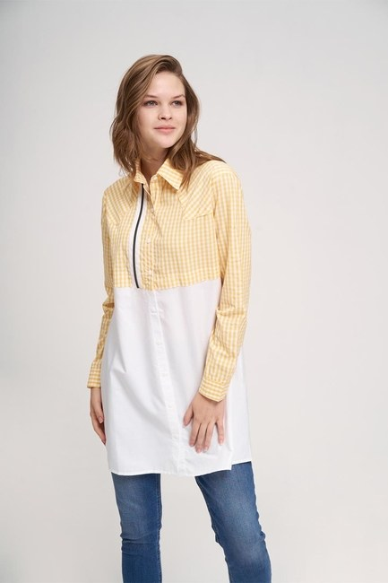 MIZALLE YOUTH - Ornamental Zip Tunic Shirt (Yellow) (1)