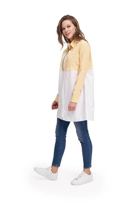MIZALLE YOUTH Süs Fermuarlı Tunik Gömlek (Sarı)