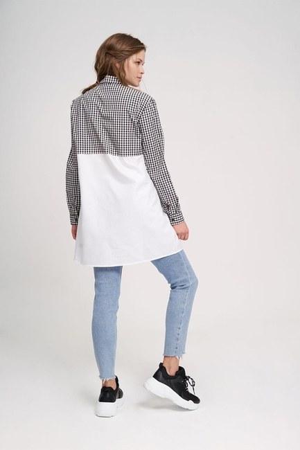 Süs Fermuarlı Tunik Gömlek (Siyah/Beyaz) - Thumbnail