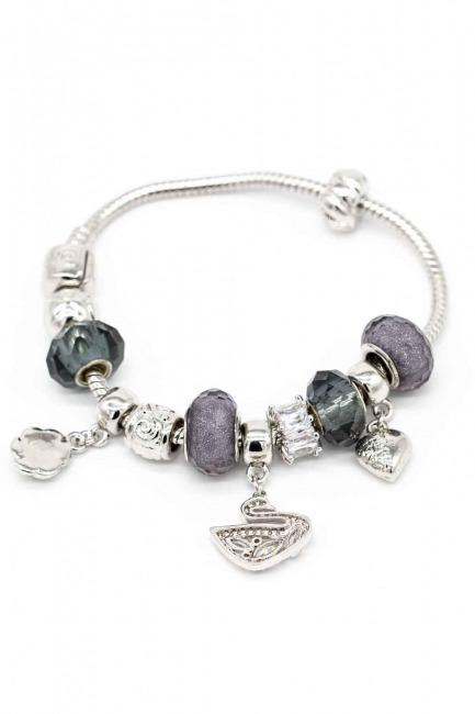 Swan Shaped Bracelet (Grey) - Thumbnail
