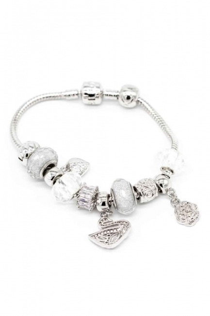 MIZALLE Swan Shaped Bracelet (White)