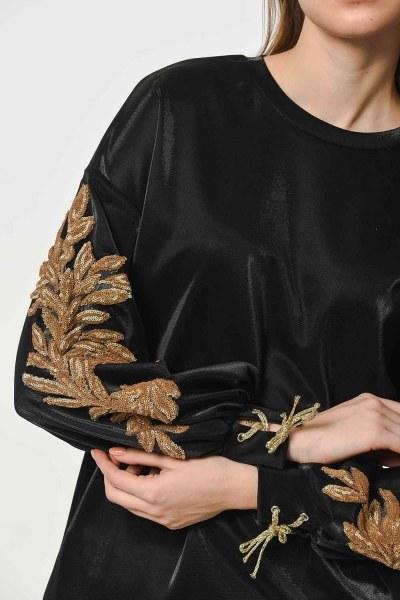 MIZALLE - قميص ثقيل مع اكمام مطرزة من الترتر (أسود) (1)