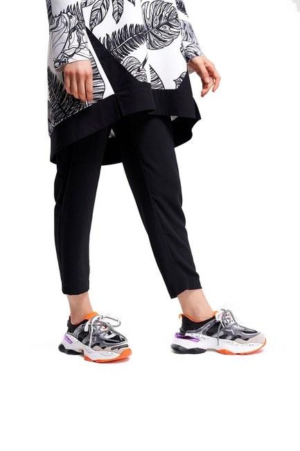 Mizalle - Tabanı Renkli Spor Ayakkabı (Siyah)