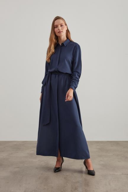 Mizalle - Tam Düğmeli Kemerli İndigo Elbise