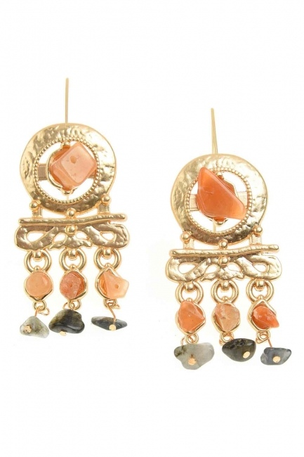 Stone Detailed Copper Earrings (St) - Thumbnail