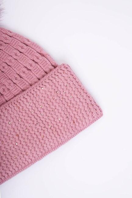 MIZALLE - Stone Detailed Pompom Beanie (Pink) (1)