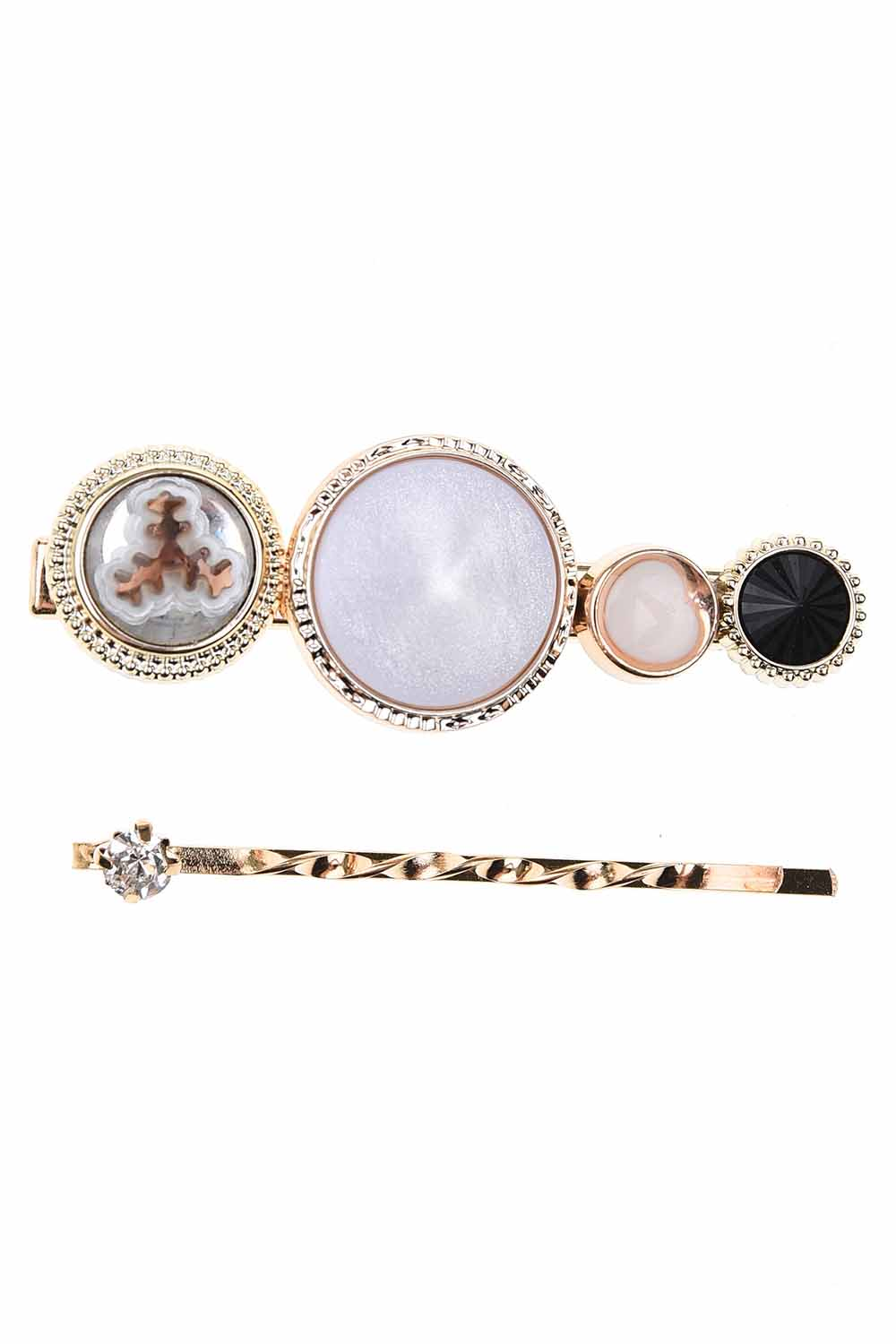 MIZALLE Stone Detailed Hair Clips (St) (1)