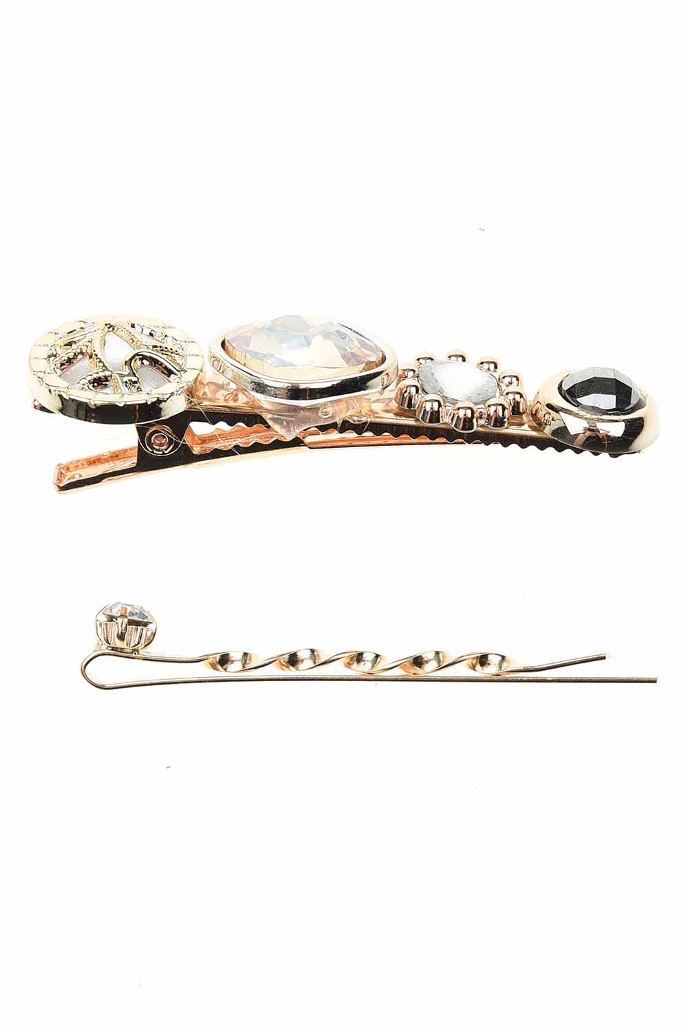 MIZALLE Stone Detailed Hair Clips (Cream) (1)