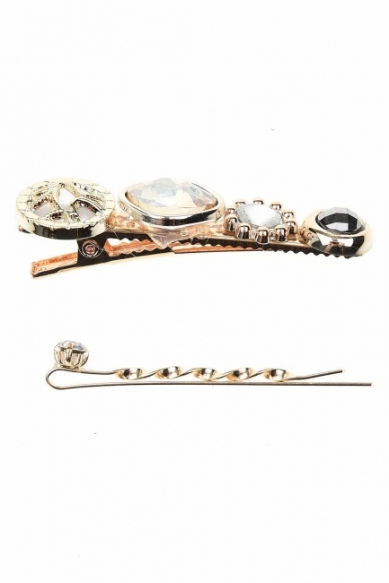 MIZALLE - Stone Detailed Hair Clips (Cream) (1)
