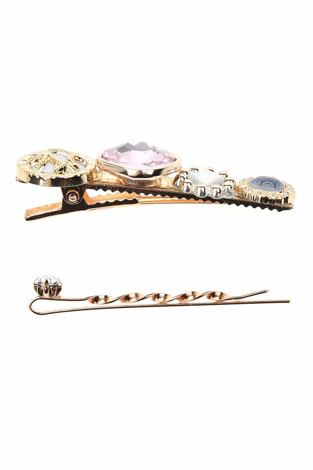 MIZALLE Stone Detailed Hair Clips (Pink) (1)