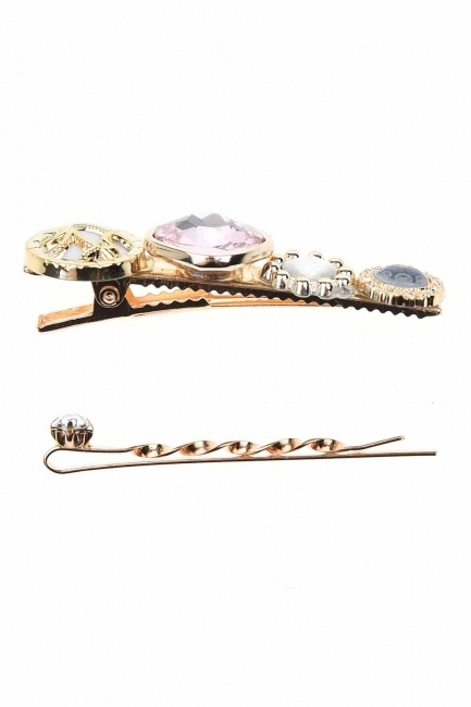 Stone Detailed Hair Clips (Pink) - Thumbnail