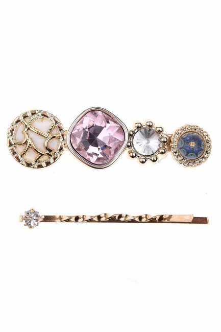 MIZALLE - Stone Detailed Hair Clips (Pink) (1)