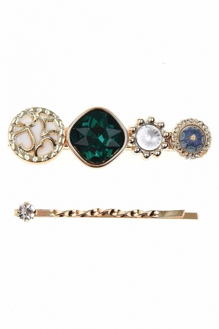 MIZALLE - Stone Detailed Hair Clips (Green) (1)
