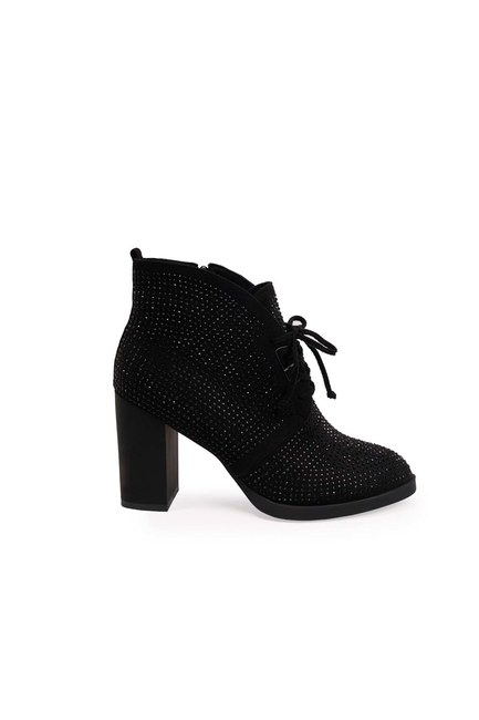 MIZALLE - Taş Detaylı Topuklu Bot (Siyah) (1)
